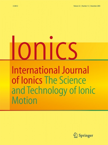 Ionics International Journal of Ionics The Science and Technology of Ionic Motion